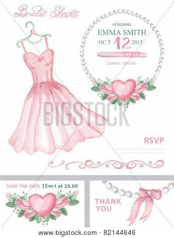 Bridal shower invitation set.Watercolor dress,floral wrea