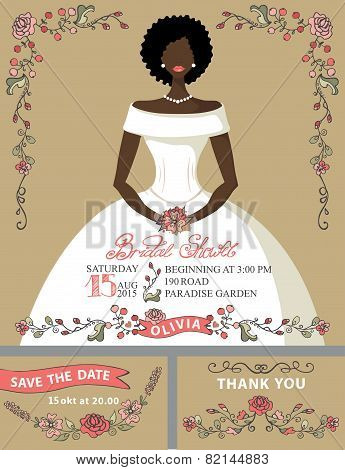 Bridal shower invitation set.Bride portrait,retro floral decor