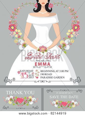 Bridal shower invitation set.Bride portrait,floral decor