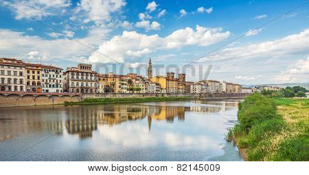 View Of Ponte Vecchio With Reflections In Arno River, Florence, Italy