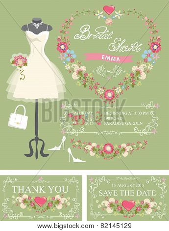 Bridal shower invitation set. Dress,floral decor