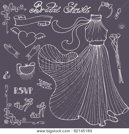 Bridal shower Dress,accessories set.Vintage outline vector