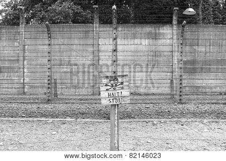 Warning Sign at Auschwitz