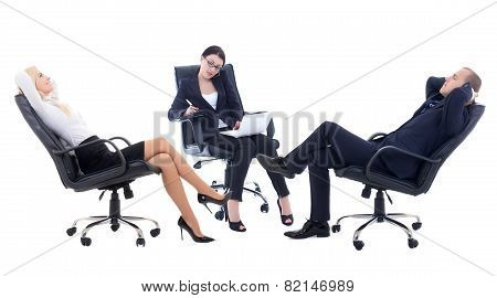 Conference Or Meeting In Office -three Business Persons Sitting On Office Chairs Isolated On White