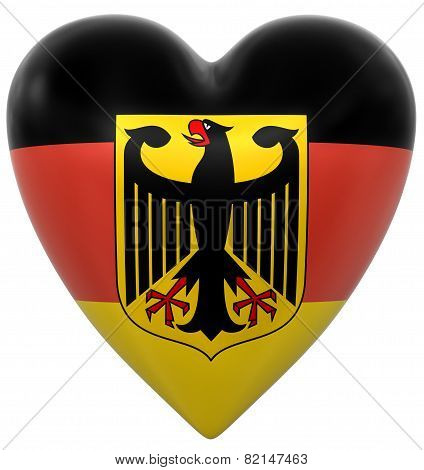 Heart with German flag (clipping path included)