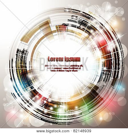 Abstract Background With Circle, Lights And Colorful Elements