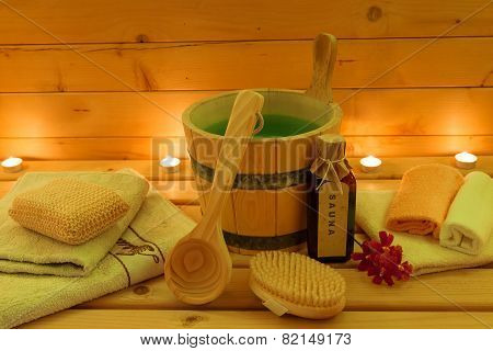 sauna and sauna accessories in the candlelight