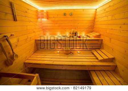 Interior of wooden Sauna