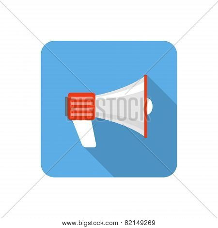 Flat Loudspeaker Icon With Long Shadow. Vector Illustration