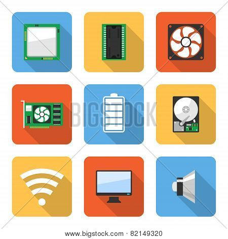 Flat Computer System Icons With Long Shadows. Vector Illustration