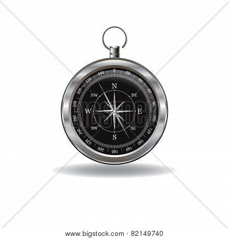 Silver Compass With Windrose.