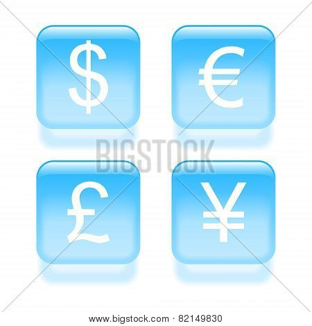 Glassy Currency Icons. Vector Illustration