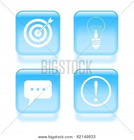 Glassy Idea Icons. Vector Illustration