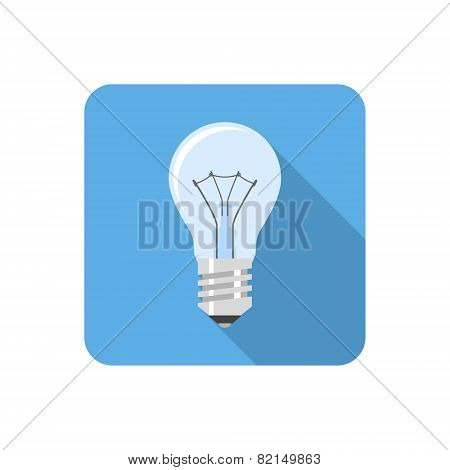 Flat Light Bulb Icon With Long Shadow. Vector Illustration