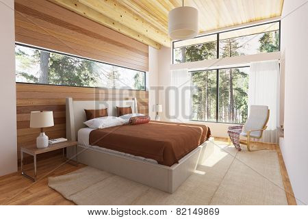 Wooden Bedroom Interior
