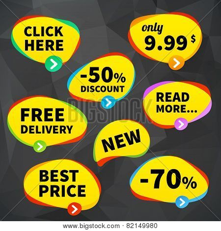 Set Vector Business Price Tag Labels On Crumplr Background