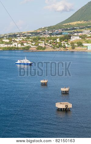 Blue And White Ferry Off St Kitts