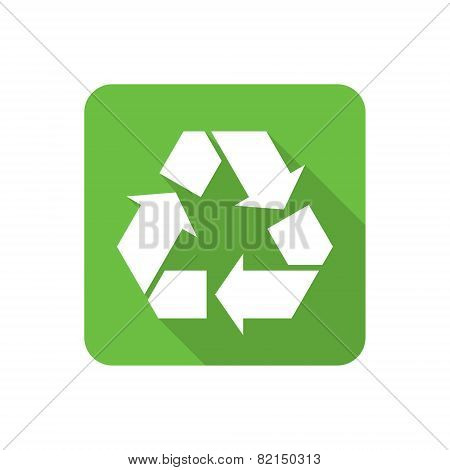 Flat Recycling Symbol Icon With Long Shadow. Vector Illustration