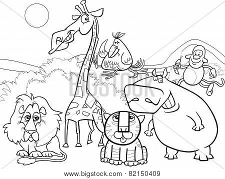 Wild Animals Group Coloring Page
