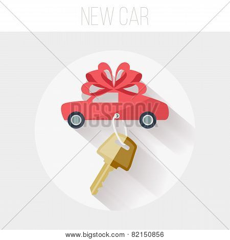 New Car with Key and Ribbon Icon, Flat Vector Illustration