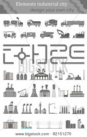 Vector Set Of Elements Industrial City