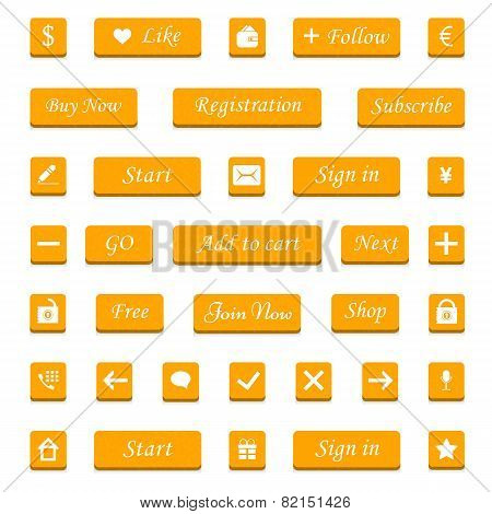 Vector Set Of Orange Buttons And Web Elements For Design Websites And Applications