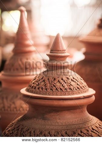 Thai Traditional Decorated Clay Pottery