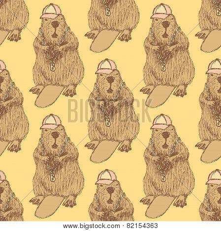 Sketch Beaver Hipster In Vintage Style