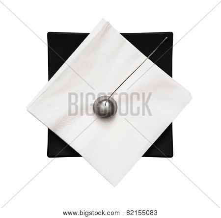 Black Napkin Holder With Paperweight - View From Above
