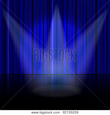 blue curtain with a beam of light vector background