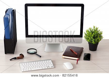 Computer With Isolated Screen Stands On The Table