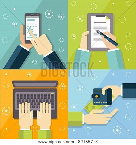 vector illustration concepts of teamwork and business meetings