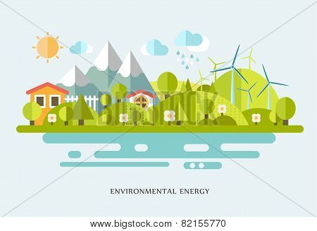vector ecology illustration infographic elements flat design. Eco life