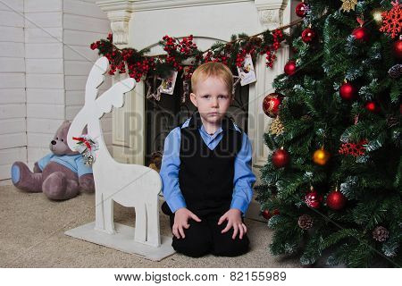 Boy Near Fireplace