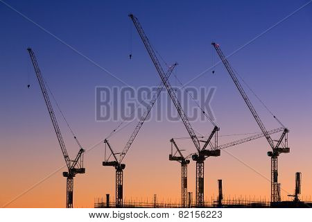 Many Cranes At Australian Construction Site