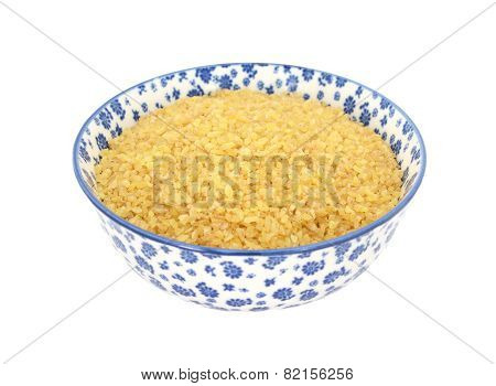 Bulgur Wheat In A Blue And White China Bowl