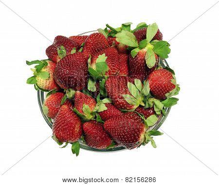 Large bowl of fresh strawberries, isolated