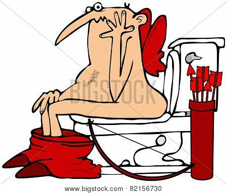 Cupid on the toilet