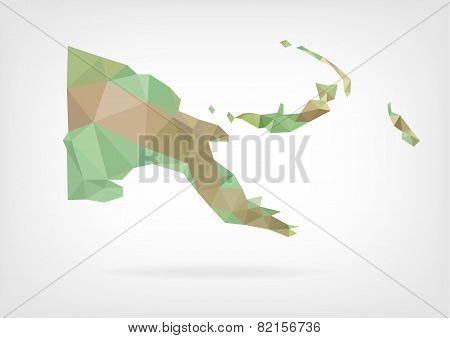 Low Poly map of Papua New Guinea