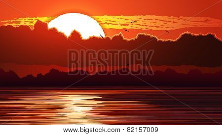 Illustration Of Red Sunset And Glare On Water.