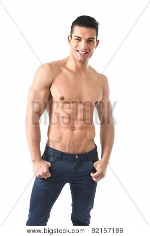 Young Sexy Man With Naked Torso And Six Pack Abdomen Posing Cool In Fashion Model Macho Style