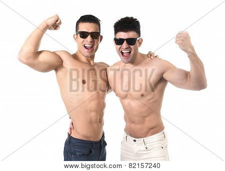 Homosexual Attractive Gay Men In Love Happy Showing Biceps And Naked Torso