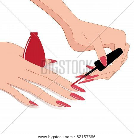 Woman Hands, Applying Nail Polish, Vector Illustration