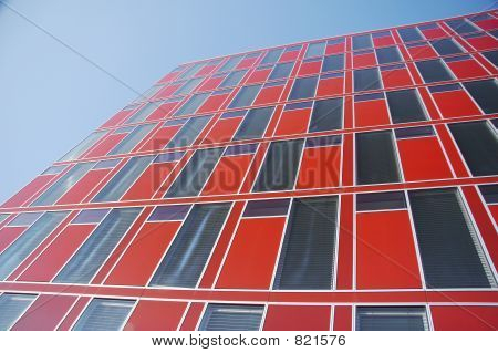 red modern office building 03