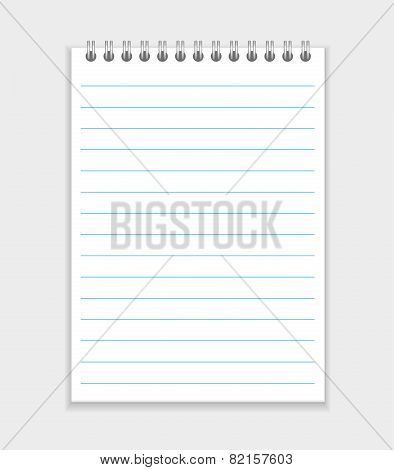 blank realistic spiral notepad notebook isolated on white vector