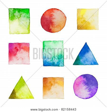 Set Of Vector Watercolor Geometric Shapes