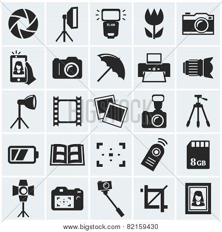 Photo icons. Vector set.