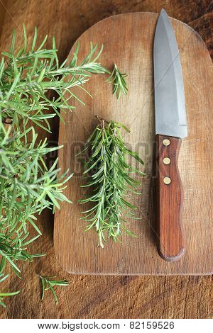 bunch of fresh rosemary on the table