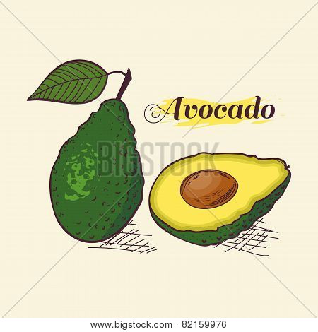 Whole Avocado With Leaf And Slice