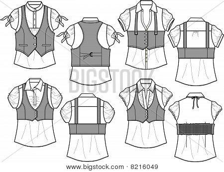 lady blouse with bengaline vest